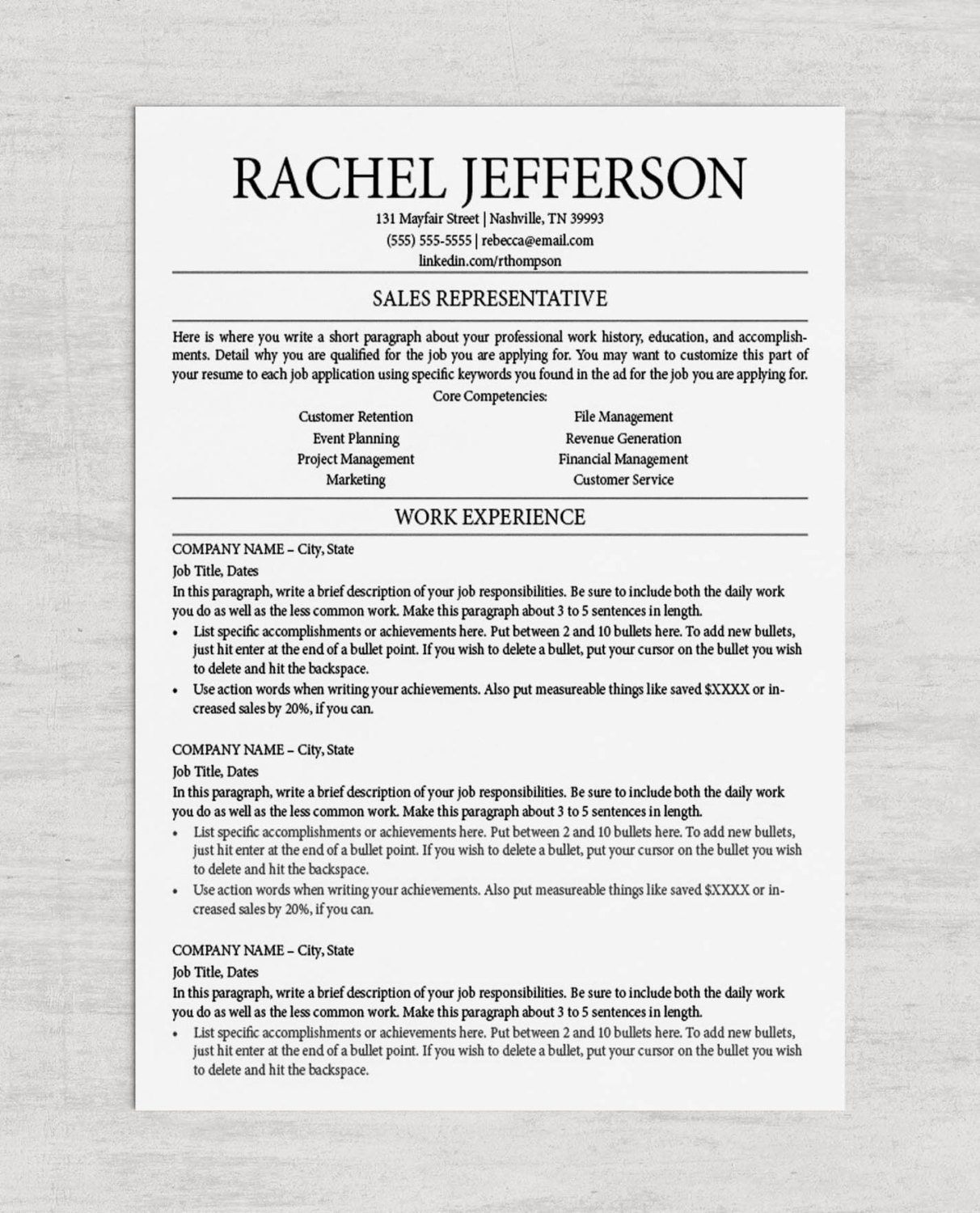 competency cluster resume