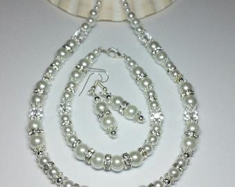 Bridal Jewellery Set, White Pearl Rhinestone Set, Wedding Jewellery Set, White Brides Necklace Bracelet Earrings Set, Silver Costume Jewelry