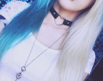 SALE!!!! Heart Choker / PU Leather Collar -  Black, Clear, Red, White, Purple or Pink (Pastel Goth, Kitten Play, Alternative)