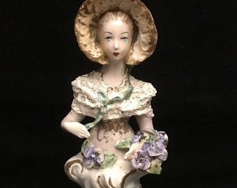 Large Cordey Cybis Porcelain Lady Bust Figurine Bonnet Flower Shawl Lace Sculpture Signed Numbered 5051