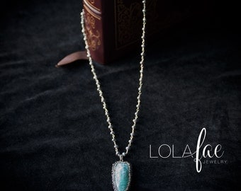 Amazonite pendant necklace/ amazonite and pearl necklace /amazonite and rhinestone necklace /long pearl necklace by Lolafae