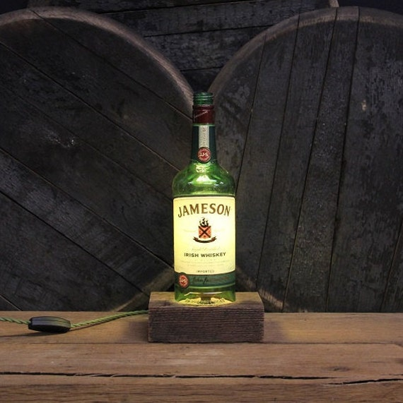 Jameson Whiskey Bottle Lamp - Desk Lamp, Handmade Table Lamp, Upcycled Lighting, Office Furniture, Edison Bulb Lamp, Kentucky Whisky