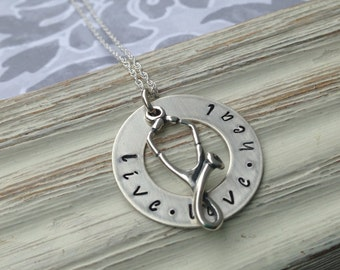 sterling silver live, love, heal washer
