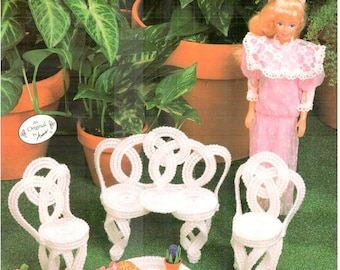Fashion Doll Garden Furniture, plastic canvas dollhouse patio bench pattern fits Barbie, design by Annie Potter, Annie's Attic 245K.