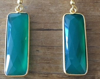 Emerald green OR Ruby pink and gold plated earrings (over silver)