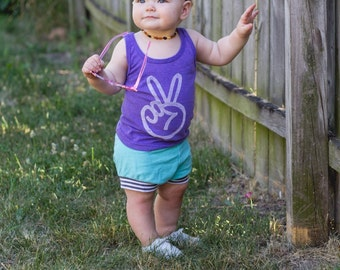 peace sign toddler tank top, peace shirt, two year old birthday shirt, hippie baby, baby hippie, retro baby clothes, hipster clothes, ORCHID