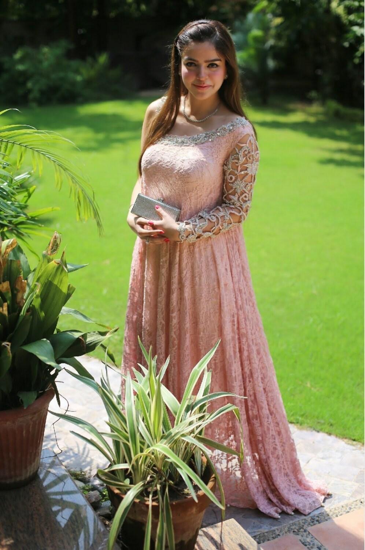 Peach One Shoulder Dress Pakistani Peach Maxi Dress With Cut-5228