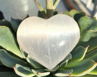 Selenite Heart infused w/ Reiki Perfect Gift for for her, Girlfriend Gift