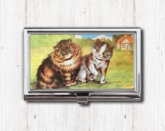 Two Cats Business Card Case, Business Card Holder, Card Case, Card Holder, Louis Wain, Cat Lover Gift, Cat Art, Cat Gift, Louis Wain Cats