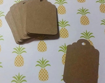 Brown Kraft Cardstock | Rustic Gift Tags | Wedding Favor Tags | Scalloped Edge | Classic | Country Chic | Minimalist