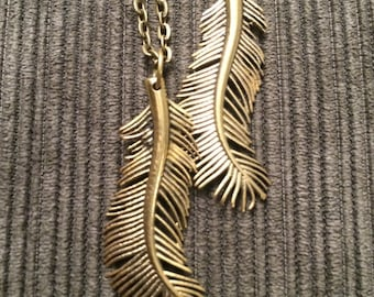 Bronze Feather Pendant Necklace