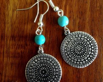 Silver Disc Earrings, Turquoise Earrings, Turquoise Jewellery, Boho, Turquoise, Bohemian, Ethnic, Gypsy