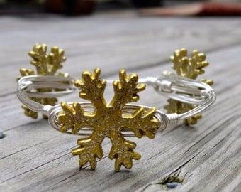 Gold Snowflake Bangle Bracelet, Gold Snowflake Bangle, Gold Bracelet, Gold Snowflake, Holiday Bangle, Snowflake Bangle