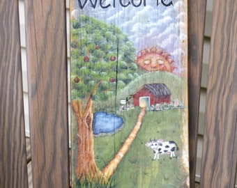 Hand Painted Barnwood Art, Hand Painted Welcome Sign/Key Holder, Barnwood Art, Welcome Sign, Key Holder, Decorative Key Hander,