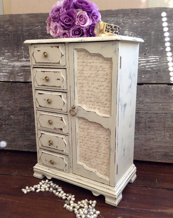 Large White Jewelry Box Armoire / Shabby Tall Vintage Chic