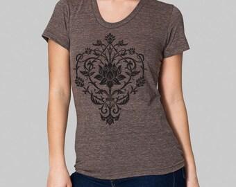 Yoga Lotus Design T-Shirt - American Apparel tri blend t shirt, yoga tshirt, junior clothing