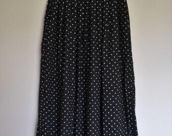 Vintage High Waisted Midi Skirt Black & White Polka Dot