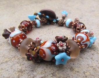 Earthy Bohemian Lampwork Beaded Bracelet ~ Artisan Handmade Bracelet, Brown and Blue Bracelet, Unusual Ethnic Bracelet, OOAK Flower Bracelet