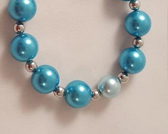 Blue Glass Pearl Beads - Bracelet - Women's Pearl Bracelet - Women's Bracelet - Women's Blue Bracelet - Glass Pearl - Pearl - Pearl Bracelet