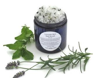 Lavender Mint Salt Scrub, Dead Sea Salt Body Exfoliating 4 oz. or 8 oz.