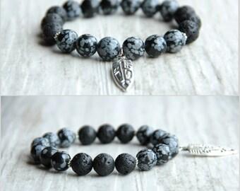 Men's tribal bracelet Boho bracelet Black lava bracelet Men's jewelry Gift for father Gift for boyfriend Birthday gift beaded bracelet