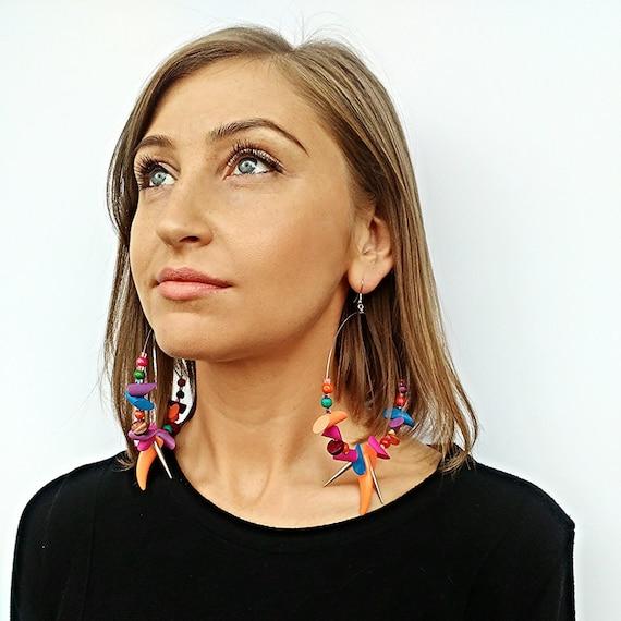 Christmas Earrings Silver Hoop Wood Bead Earrings  Earrings Light Earrings Boho earrings  Summer Hoops Colorful Earrings Silver Beaded Hoop