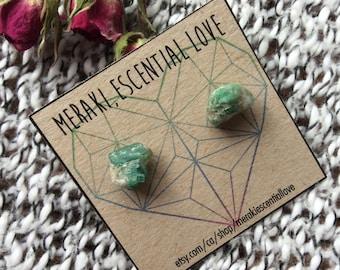 Emerald Earrings. Raw Emerald Earring Studs. Precious Gemstone Jewelry.