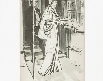 London:Stylish 1930's print of fashion drawing by Francis Marshall