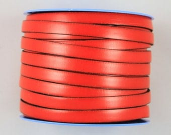 "MADE IN SPAIN 24"" flat leather cord, red flat leather cord, 10mm flat leather cord (VM10ROJ)"