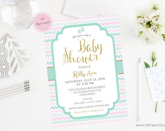 Chevron Shower Invitation, Gold Baby Shower, Baby Shower Invitation, Custom Invitation, Custom Baby Invite, Printable Invitation