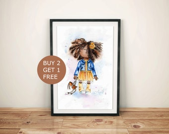 Watercolor Print, African american art, Watercolor Painting, Wall decor girl, African little girl, Baby nursery print Kids room poster