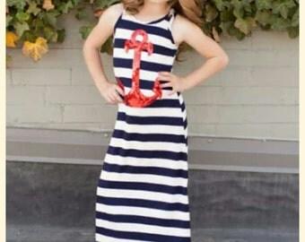 Nautical Dress- Anchor Dress-Girls 3T 4/5 6/7-Mom and Me- New England Dress-Girls Beachwear-Girls Summer Maxi Dress-Toddler Nautical