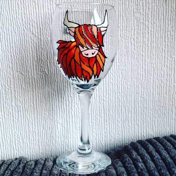 1 Highland Cow Glass Hand Painted Wine Glass Unique