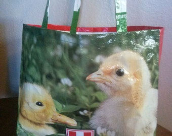 Grocery bag from repurposed chicken feed bag.