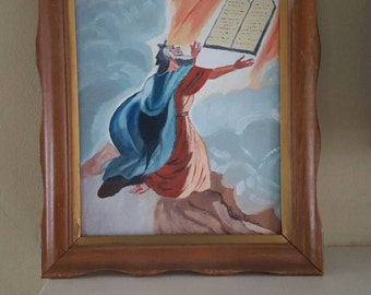 Vintage Original Oil Painting of Moses receiving Ten Commandments, Bright colors, Scalloped Wood frame