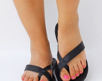 Genuine Black Leather Flip Flop Sandals, Women Greek Leather Sandals