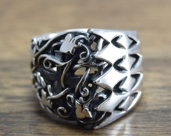 Unique Open Work Ring,delicate hand carving,openwork,925,Solid Sterling Silver