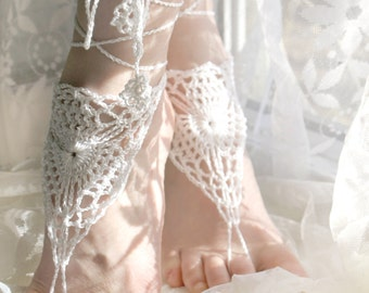 Crochet barefoot sandals, White barefoot sandals, Footless sandles, Beach Wedding, Foot Jewelry, Crochet Sandles, Yoga, Anklet, Womens Shoes
