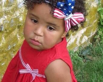 American flag layered bow/headband