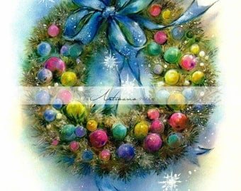 Vintage Christmas Card Art Blue Bow Wreath - Digital Download Printable Image - Paper Crafts Scrapbook Altered Art - Printable Vintage Card