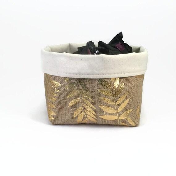 Storage basket gold burlap basket kitchen storage by for Gold bathroom bin