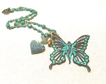Verdigris Patina Butterfly Necklace fairy jewelry faerie necklace charm mixed metal necklace beaded necklace labradorite turquoise necklace