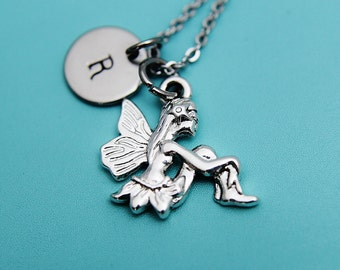 Fairy  Necklace   Initial Necklace   Silver Fairy Charm   Silver Fairy Pendant   Fairy tale   Fairy wings   Fairy Jewellery
