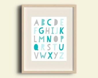 Nursery Alphabet Print, Teal, Alphabet poster, Alphabet print, kids room decor, Wall Art, ABC Print, 8x10 print