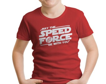 "The Flash Inspired ""May the Speed Force Be With You"" Boys' T-Shirt"