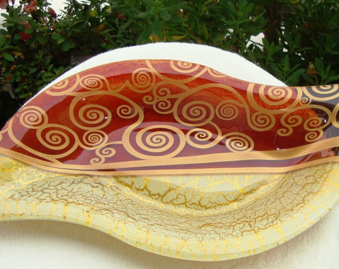 Vintage Αsymmetrical Οval Εye Type Handmade Fused Glass Tray, Serving Platter, Decorative Plate, Wedding gift, Candle holder, Housewarming