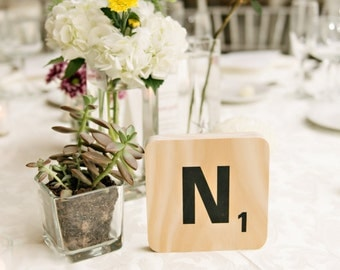 Unique Wedding Table Numbers. Large Scrabble Tiles. Wedding Decoration. Reception Tables. Table Numbers. Wedding Decor.