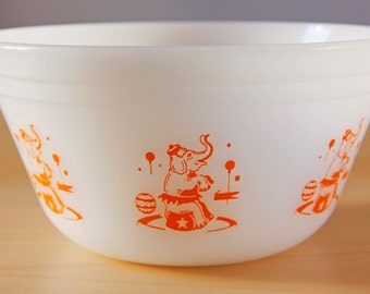 Vintage Federal Glass bowl Circus pattern-Elephant milk glass/orange