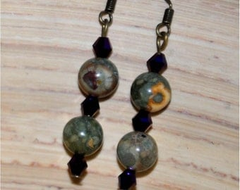 Green and Dark Purple Beaded Dangle Earrings