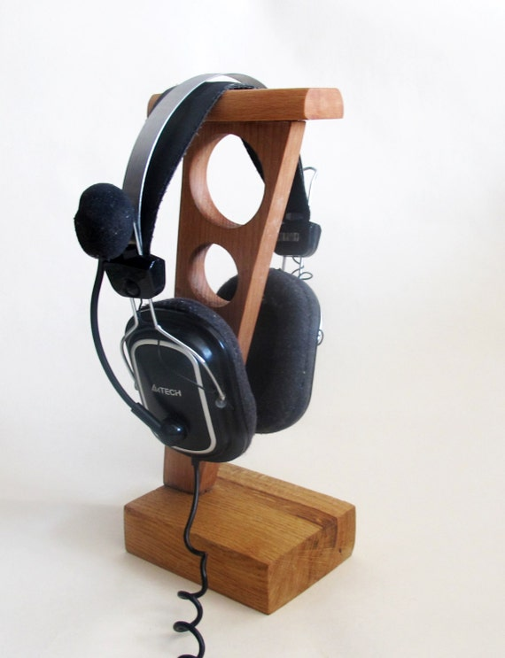 Wood headphone stand wooden headphone holder rustic by vishemir - Wooden headphone holder ...